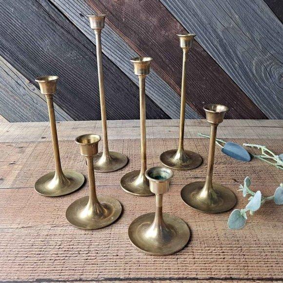 Vintage Brass Graduated Tulip Candlesticks - Set 7